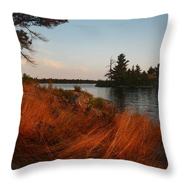 Red Wild Grass Georgian Bay Throw Pillow