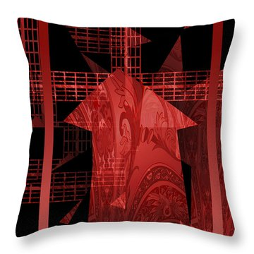 Red Windmill Abstract Throw Pillow