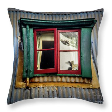 Throw Pillow featuring the photograph Red Windows by Perry Webster