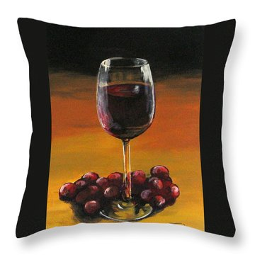 Red Wine And Red Grapes Throw Pillow