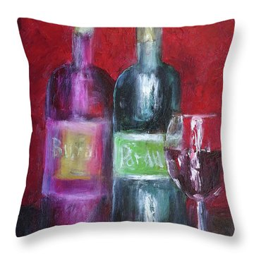 Red Wine Art Throw Pillow