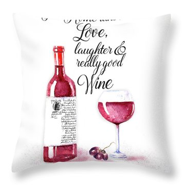 Throw Pillow featuring the digital art Red Wine by Colleen Taylor