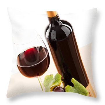 Red Wine In Glass With Bottle And Wine Grapes Throw Pillow