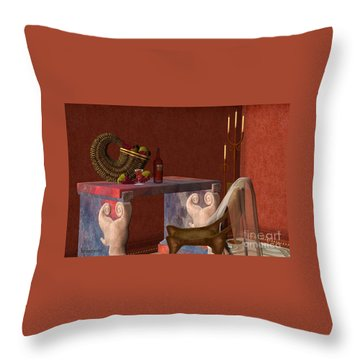 Red Wineglass Throw Pillow by Corey Ford
