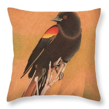 Red-winged Blackbird 3 Throw Pillow