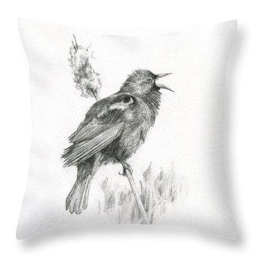 Red-winged Blackbird Throw Pillow