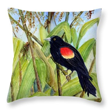Red-winged Sentry Throw Pillow