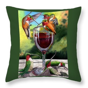 Red Winos Throw Pillow