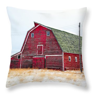 Red Winter Barn Throw Pillow