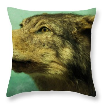 Throw Pillow featuring the digital art Red Wolf Digital Art by Chris Flees