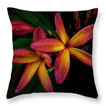Red/yellow Plumeria In Bloom Throw Pillow