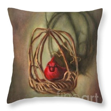 Throw Pillow featuring the painting Redbird by Randol Burns