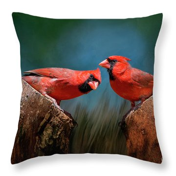 Throw Pillow featuring the photograph Redbird Sentinels by Bonnie Barry