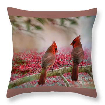 Redbirds At Dusk Throw Pillow
