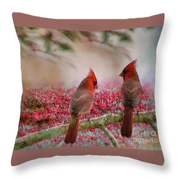 Redbirds At Dusk Throw Pillow