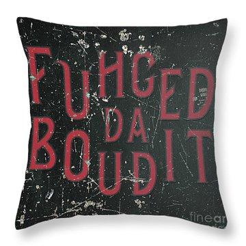 Throw Pillow featuring the digital art Redblack Fuhgeddaboudit by Megan Dirsa-DuBois