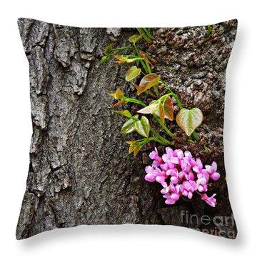 Redbud Flowers 2 Throw Pillow by Sarah Loft