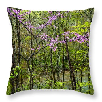 Redbud In The Rain Throw Pillow
