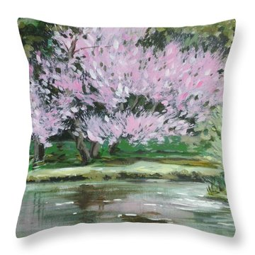 Redbud Reflections Throw Pillow