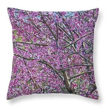 Redbud Tree Throw Pillow by Nadi Spencer