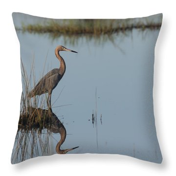 Reddish Egret And Reflection In The Morning Light Throw Pillow