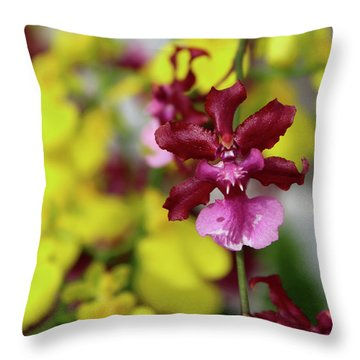 Maroon And Yellow Orchid Throw Pillow