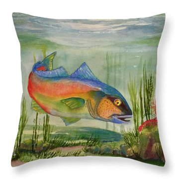 Rainbow Fish Throw Pillow