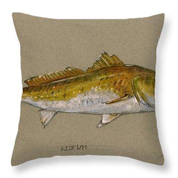 Redfish Painting  Throw Pillow