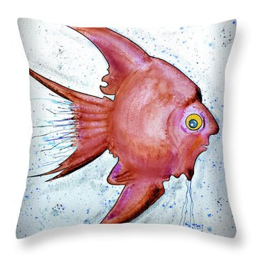 Throw Pillow featuring the mixed media Redfish by Walt Foegelle