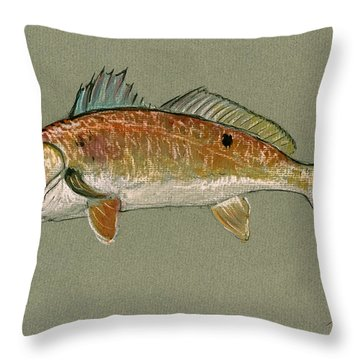 Redfish Watercolor Painting Throw Pillow by Juan  Bosco