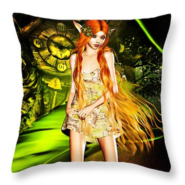 Redhead Forest Pixie Throw Pillow