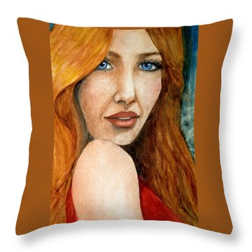 Redhead In October Throw Pillow