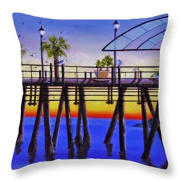 Redondo Beach Pier Throw Pillow