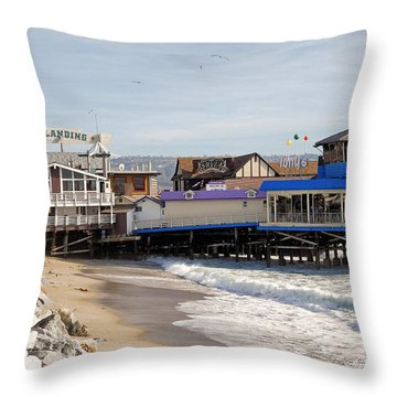 Redondo Beach Pier Shopping Throw Pillow