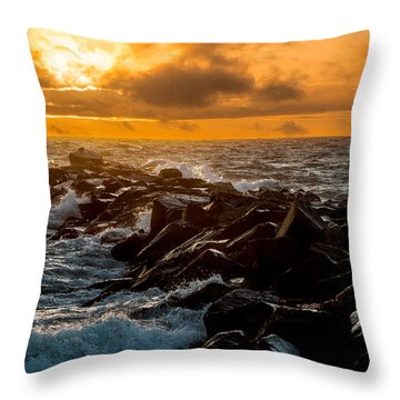 Redondo Beach Sunset Throw Pillow by Ed Clark
