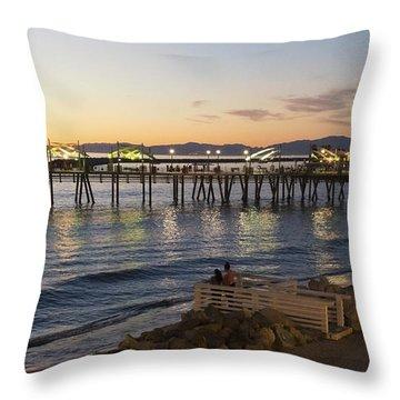 Redondo Pier At Sunset Throw Pillow