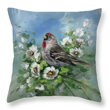 Redpole And Blossoms Throw Pillow by David Jansen