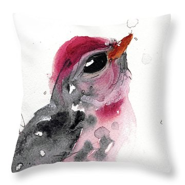 Throw Pillow featuring the painting Redpole by Dawn Derman