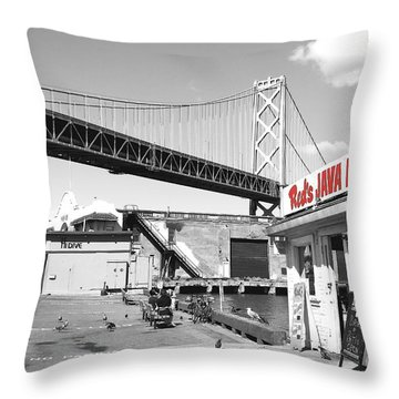 Reds Java House And The Bay Bridge In San Francisco Embarcadero . Black And White And Red Throw Pillow