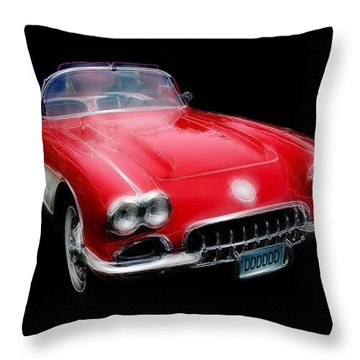Throw Pillow featuring the digital art Redvette by Kenneth Armand Johnson