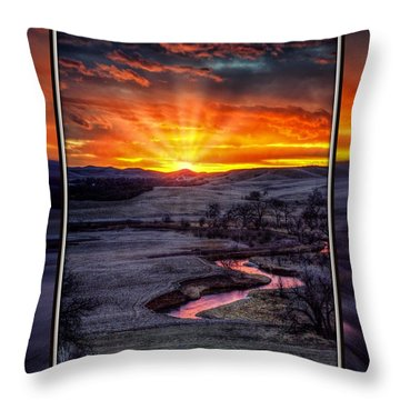 Redwater River Sunrise Throw Pillow