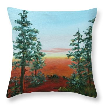 Throw Pillow featuring the painting Redwood Overlook by Roseann Gilmore