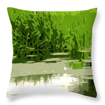 Reeds At The  Pond Throw Pillow