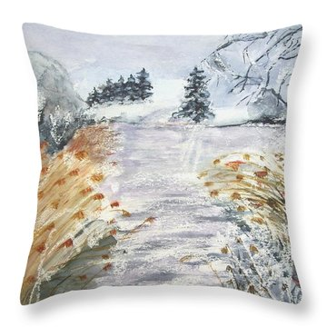 Reeds On The Riverbank No.2 Throw Pillow