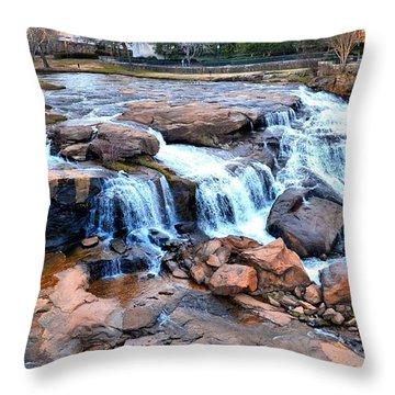 Reedy River Falls Throw Pillow