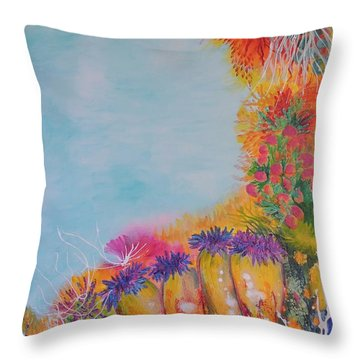 Throw Pillow featuring the painting Reef Corals by Lyn Olsen