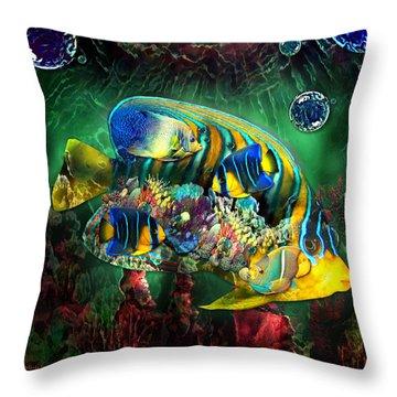Reef Fish Fantasy Art Throw Pillow