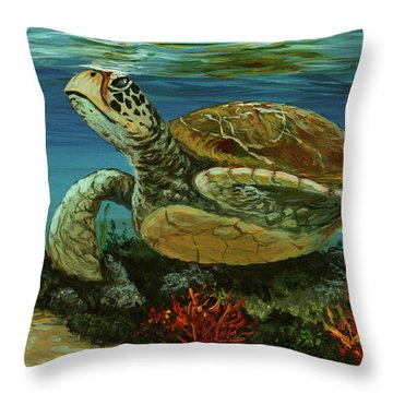 Throw Pillow featuring the painting Reef Honu by Darice Machel McGuire
