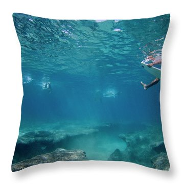 Reef Surfers Throw Pillow by Sean Davey