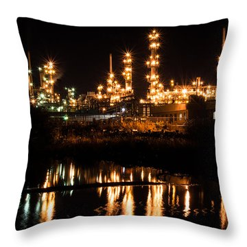 Refinery At Night 1 Throw Pillow
